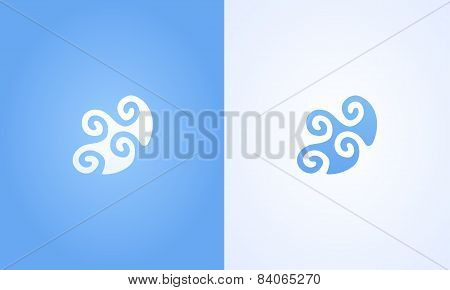 Sign Of Wave Ripple On White And Blue Background