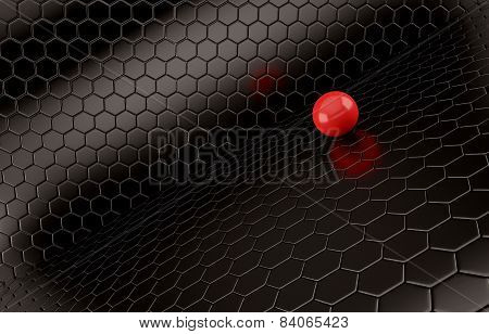 Abstract background of the red Ball on black mesh grid.