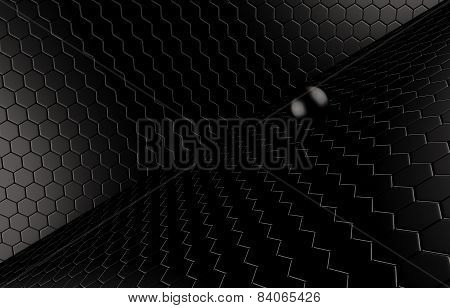 Abstract background of the black Ball on black mesh grid