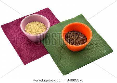 Spices In Cups On Napkins