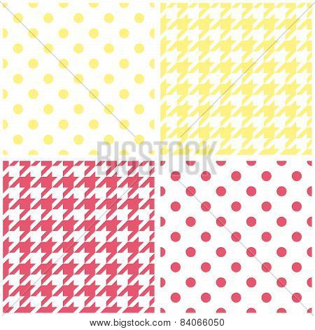 Houndstooth and polka dots seamless pastel yellow, pink and white vector pattern set