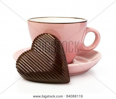 Pink Cup With Chocolate Hearts