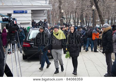 Writer Viktor Erofeev At The Funeral Of Boris Nemtsov
