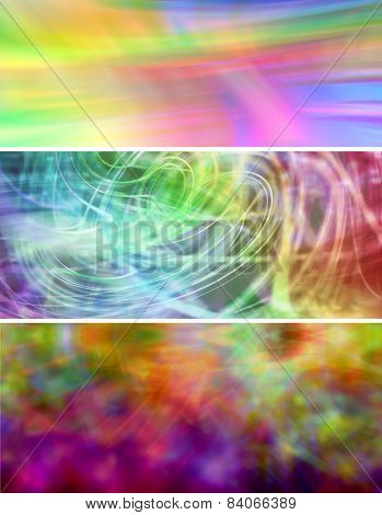 Three vibrant website banner background panels