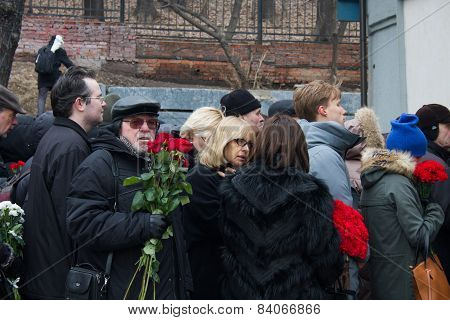 Actress Vera Glagoleva At The Funeral Of Boris Nemtsov