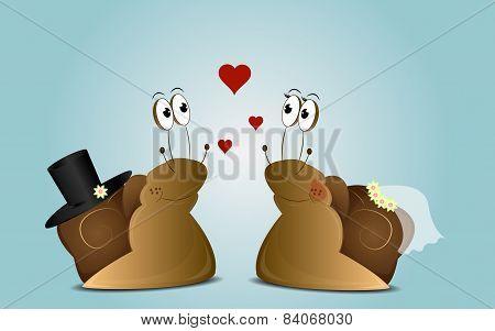 Wedding background of cartoon snails