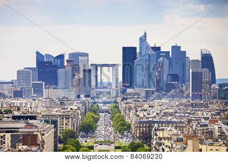 La Defense Business Area, Grande Armee Avenue. Paris, France