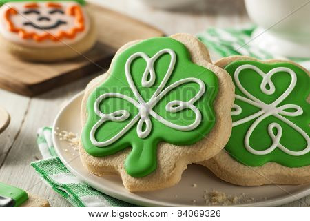 Green Clover St Patricks Day Cookies