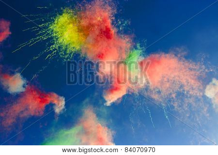 Abstract:  Daytime Fireworks In The Blue Sky