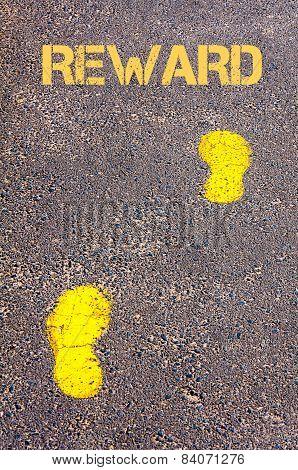 Yellow Footsteps On Sidewalk Towards Reward Message