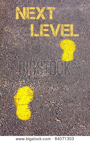Yellow Footsteps On Sidewalk Towards Next Level Message