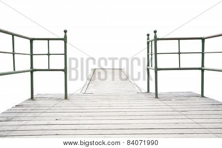 Wood pier with iron railing