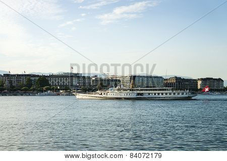 Steamer In Geneva Lake And Quay Mont Blanc