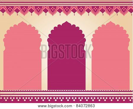 Pink oriental temple henna background
