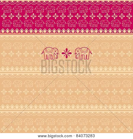 Pink and cream Indian elephant pattern background