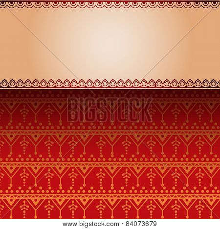 Red Indian henna pattern with banner