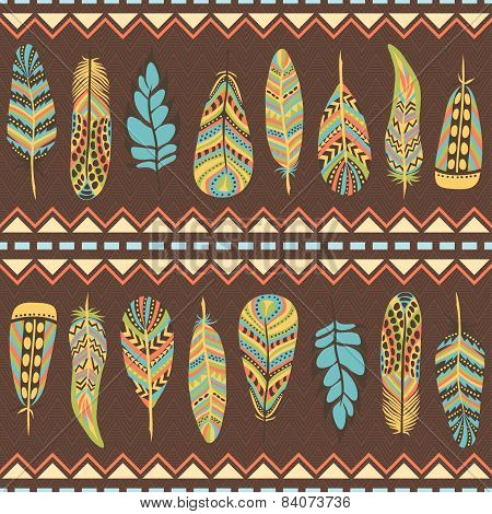 Ethnic seamless pattern with feathers