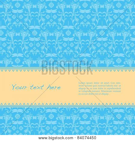Blue Japanese dragonfly and flower pattern banner