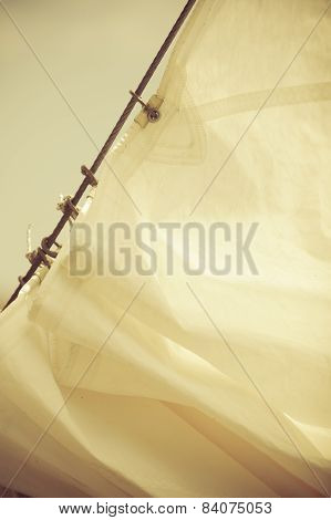 Yachting. Detail Of Sailing Boat. Sail On A Yacht.