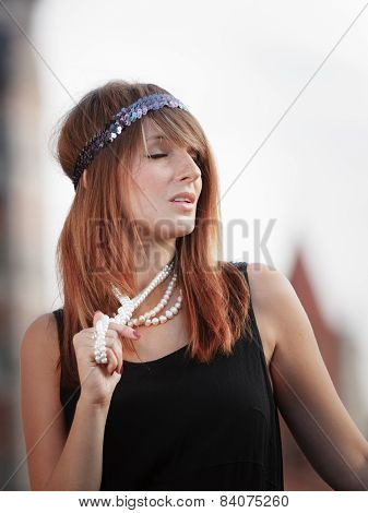 Flapper Girl Woman In1920S Style Portrait Outdoor