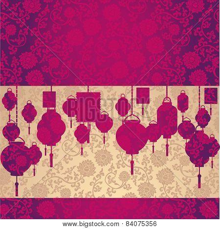 Chinese Pink And Cream Lotus Pattern And Lanterns Horizontal Banner