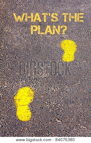 Yellow Footsteps On Sidewalk Towards Whats The Plan Message