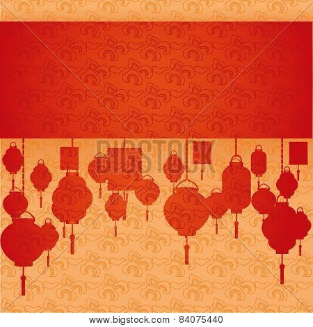 Chinese hanging lanterns banner