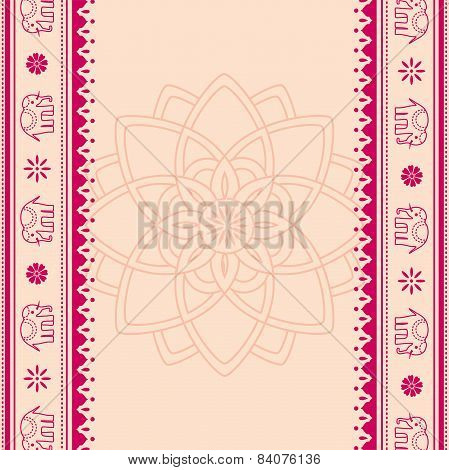 Lotus And Elephant Red And Cream Indian Background