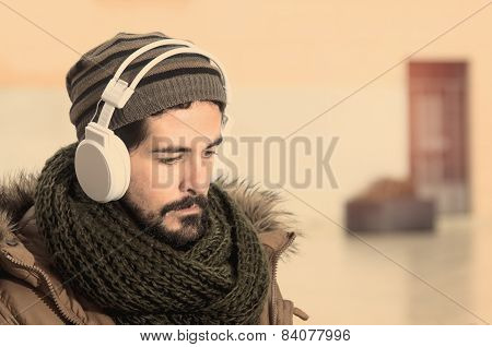 Listenng Music Outdoors In Instagram Style