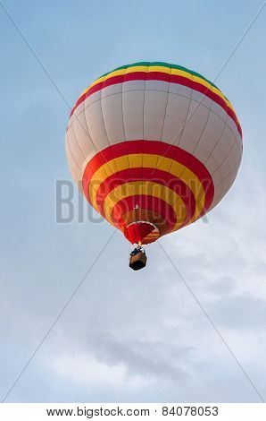 White Red Yellow Hot Air Balloons in Flight. Outdoor, Colorful