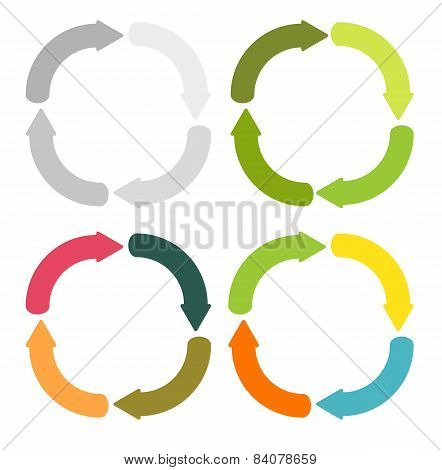4 Circular Round Arrows