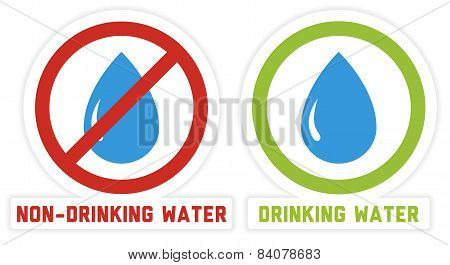 2 Isolated Labels For Drinking And Non-drinking Water