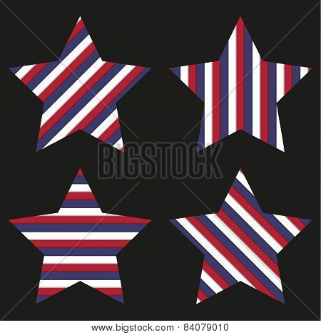 Collection Of 4 Striped Stars Isolated On Black