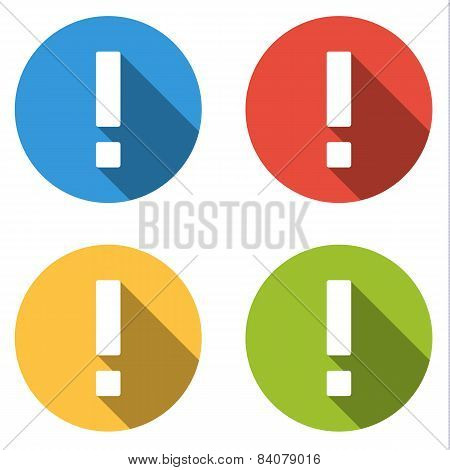 Collection Of 4 Isolated Flat Colorful Buttons For Exclamation Mark / Attention