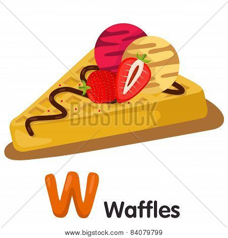 Illustrator of W font with waffles