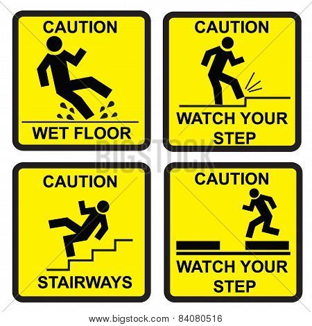 Caution signs, vector, illustration