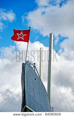 Submarine`s Prow With Ussr Flag