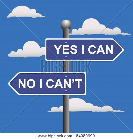 Yes, I, can, two-way, street, sign, vector, illustration
