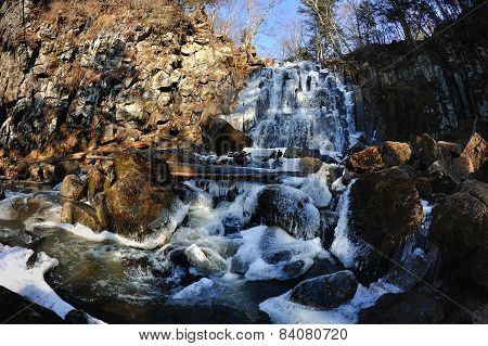Waterfall Gorbatiy In November, Primorskiy Kray, Russia