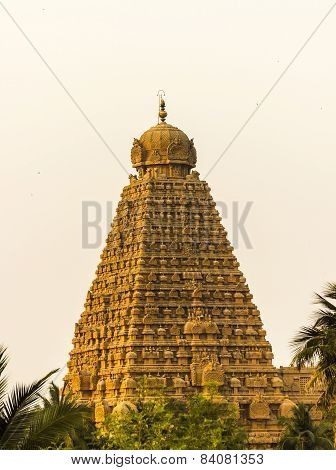 The magnificent main gopuram / tower of Brahadeewarar temple, Thanjavur