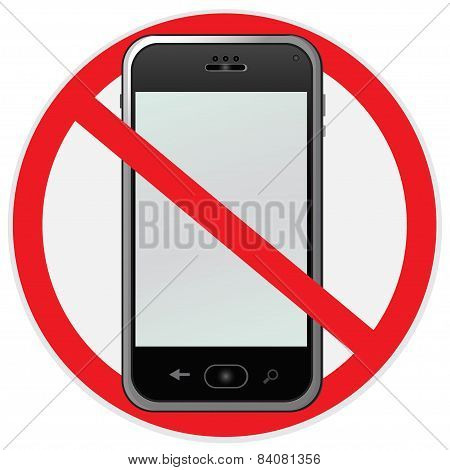 No, cell, phone, sign, illustration, vector