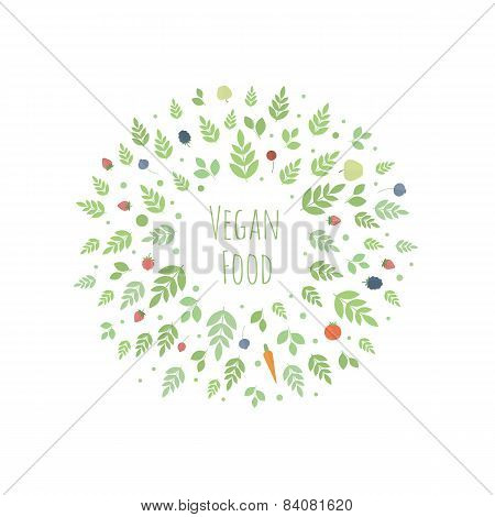 Vector Frame With Leaves, Fruits And Vegetables