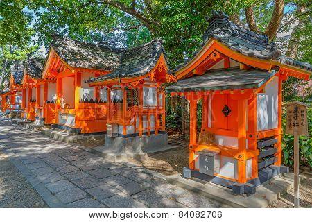 Small Shrines at Sumiyoshi Grand Shrine in Osaka