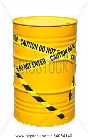 200 liter tank yellow barrier tape limits on the white background.