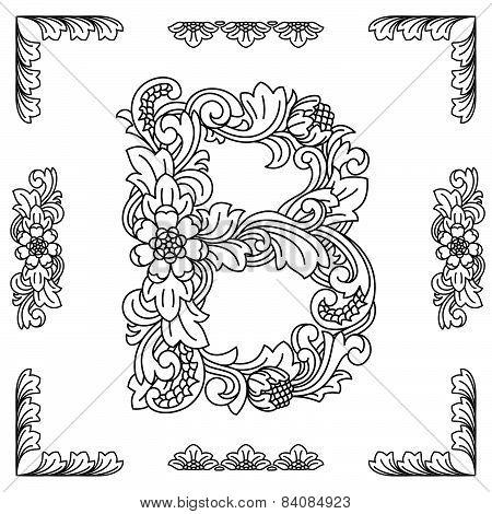 Letter B, floral ornament. EPS10.