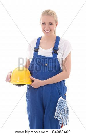 Happy Woman In Blue Builder Uniform Holding Yellow Helmet Isolated On White