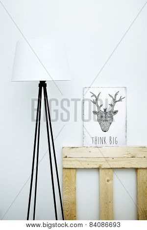 Motivational Hipster Board Think Big With Lamp. Scandinavian  Style Room Interior