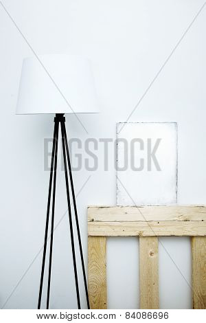 Motivational Hipster Board Mock-up With Lamp. Scandinavian  Style Room Interior