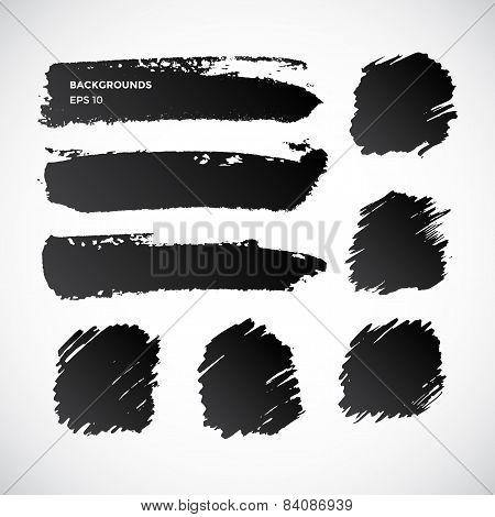 Brushstroke banners. Ink spot vector backgrounds.