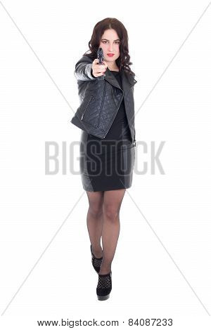 Full Length Portrait Of Young Attractive Woman Posing With Gun Isolated On White